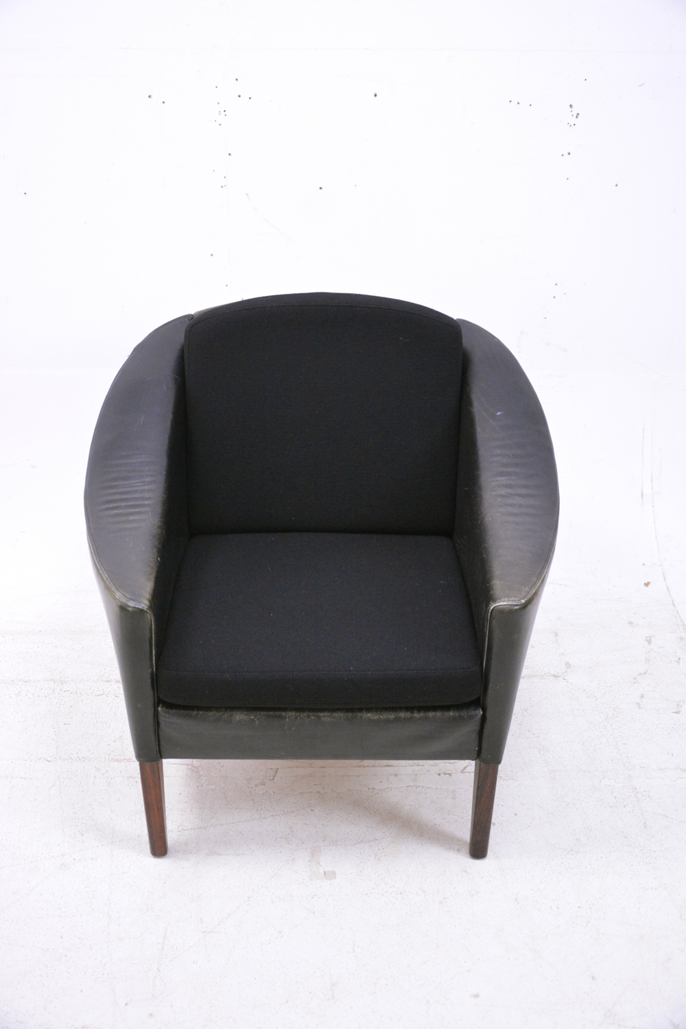 Black Leather And Rosewood Armchair 1960s Danish