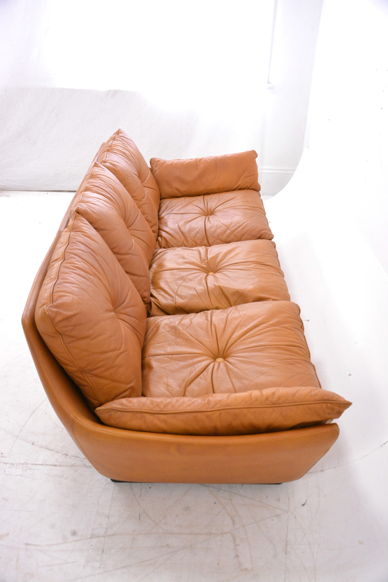 Low 1970s Danish Design 3 Seat Sofa With Tan Leather Upholstery. £2950 Long  ...