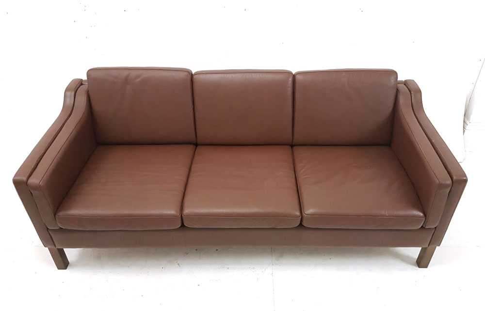 Compact 3 Seat Danish Box Design Brown Leather Sofa