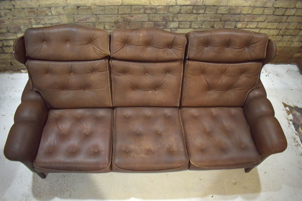 High back brown leather 3 seat sofa | Danish design