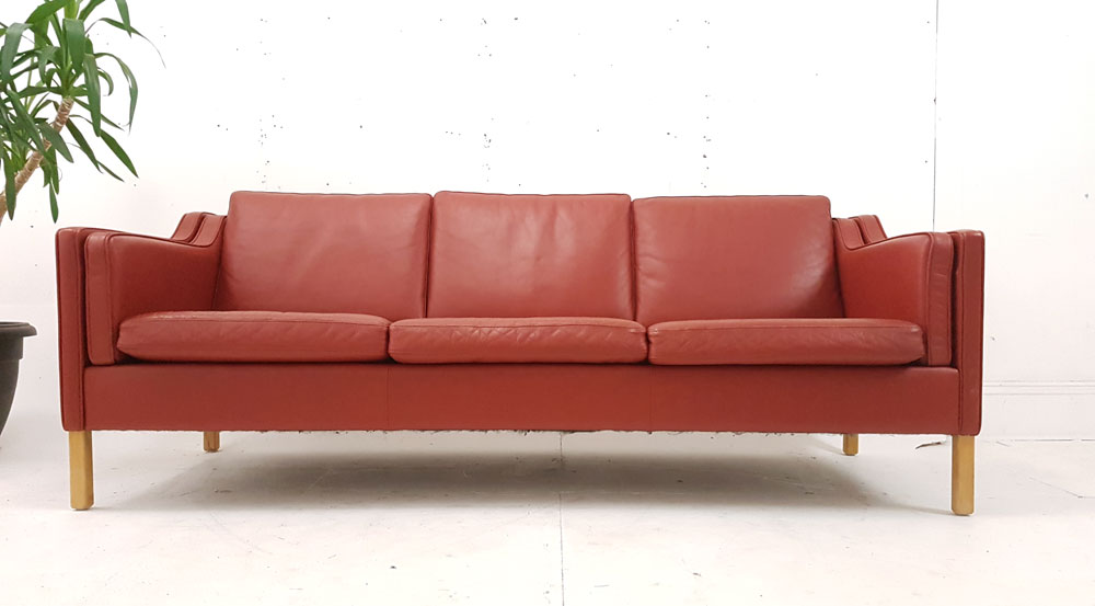 Beech Legged 3 Seat Danish Designed Sofa In Red Leather Upholstery