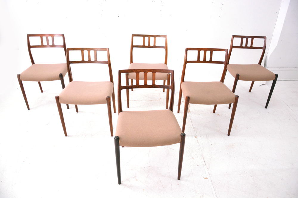 Charmant Set Of 6 Vintage Rosewood Dining Chairs Model 79 By Niels Møller.