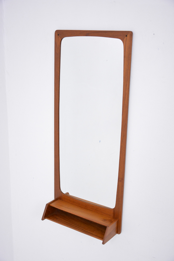 Mid Century Danish Mirror With Petite Shelf In Teak
