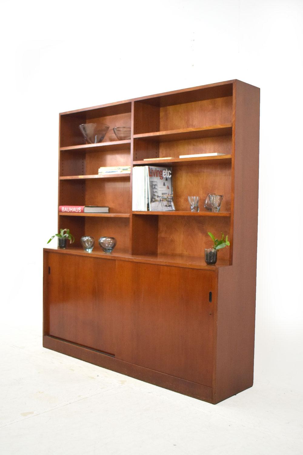 Mahogany Bookcase Wall Unit 1940s Danish Design