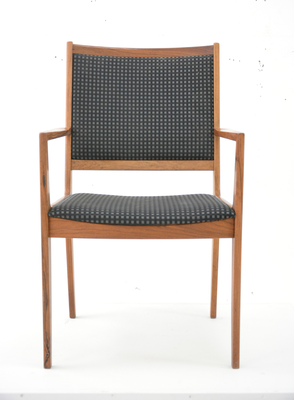 Vintage rosewood armchair with black check fabric | Danish ...