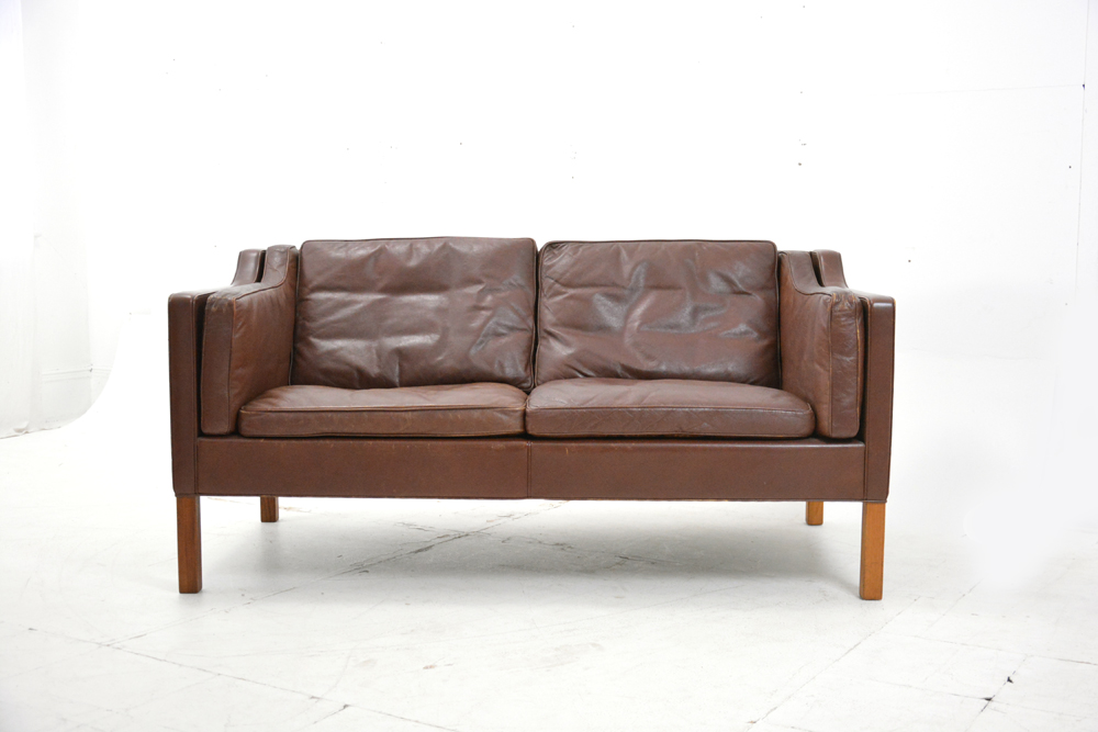 Original Leather And Vintage 2 Seater Sofa Designed By Borge Mogensen