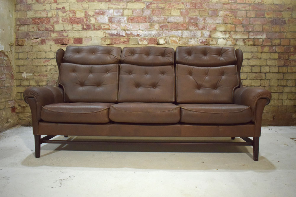 High Back Brown Leather 3 Seat Sofa Danish Design