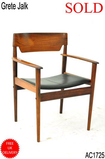 Grete Jalk armchair | Vintage rosewood & leather