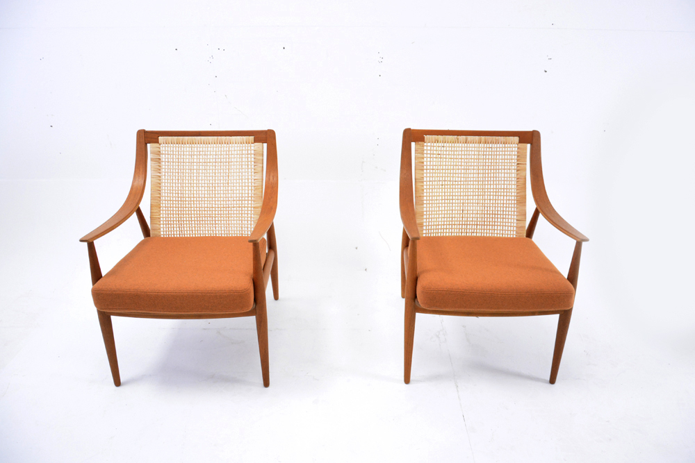 FD147 Danish Design Armchairs With Woven Cane Back.