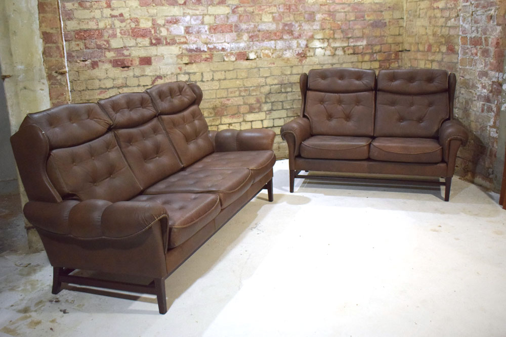Brown Leather Dining Chairs Dark Legs