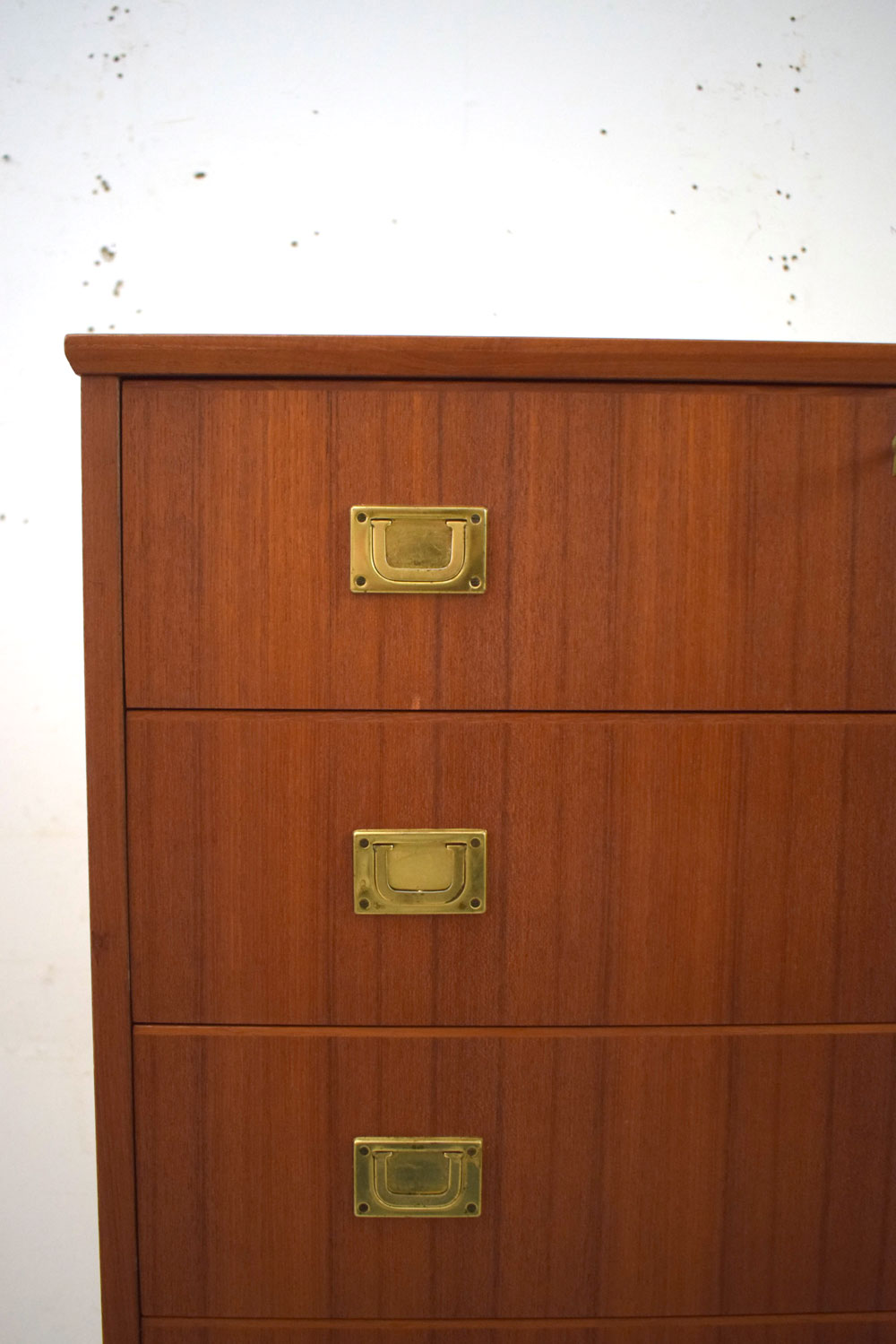 Tall 6 Drawer Chest With Metal Handles Teak