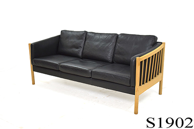 Modern black leather 3 seat sofa | Beech ends