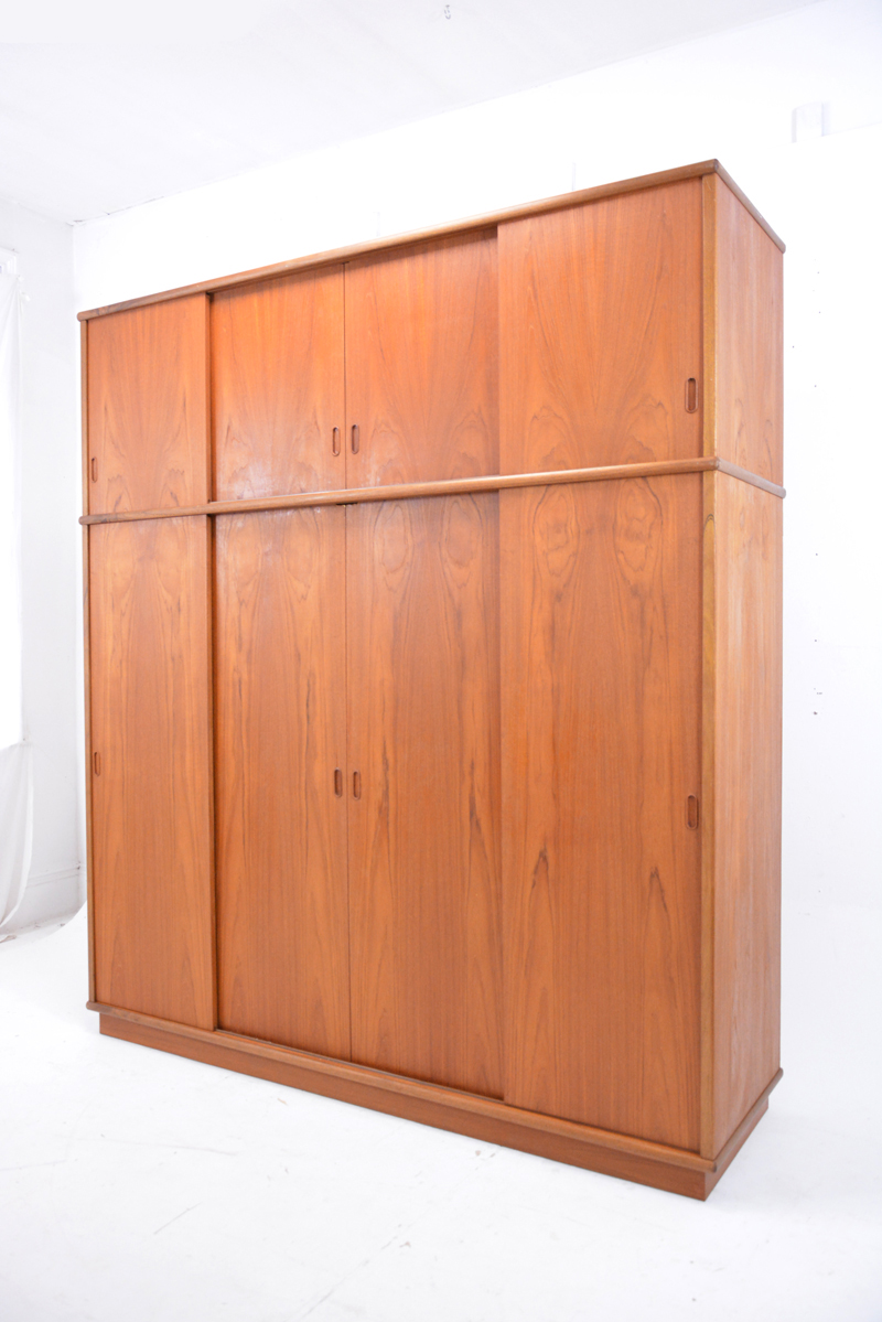 Sliding Door Wardrobe 1960s Teak Danish Homestore