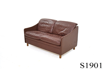 Brown leather 2 seat sofa | Low back