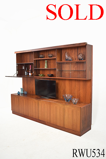 Rosewood Display Unit Panel Doors, Large Wall Storage Units With Doors